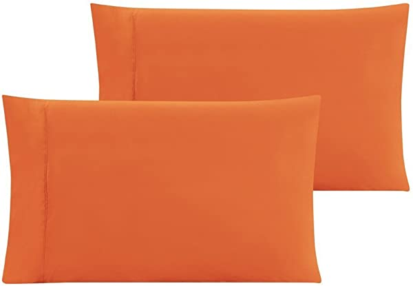 Crescent 2 Pack Orange Pillow Cover Pillowcases 100 Pure Natural Cotton Jersey Soft And Cozy Envelope Closure Hypoallergenic Breathable 20 X 30 2 Standard Pillowcases 20 X 30 Orange