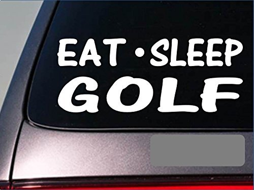 "Tollyee Car Decals and Stickers Eat Sleep Golf Sticker *G897* 8\"" Vinyl Putter Driver Golf Ball Slice Wedge"