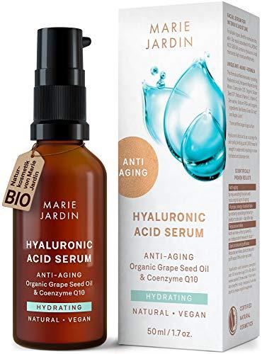 Hyaluronsäure Serum mit Vitamin C und Q10, hochdosiert mit geprüftem 5-fach Anti-Aging-Komplex, Dermaroller geeignet, Basis für Make-up, zertifizierte vegane BIO...