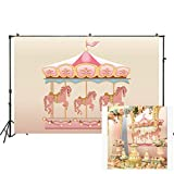 Carousel Backdrop Birthday Baby Shower Photo Background Pink Girls Carousel Banner Newborns Circus Horse Decor Party Supplies Studio Photo Booth Backdrop Decorations