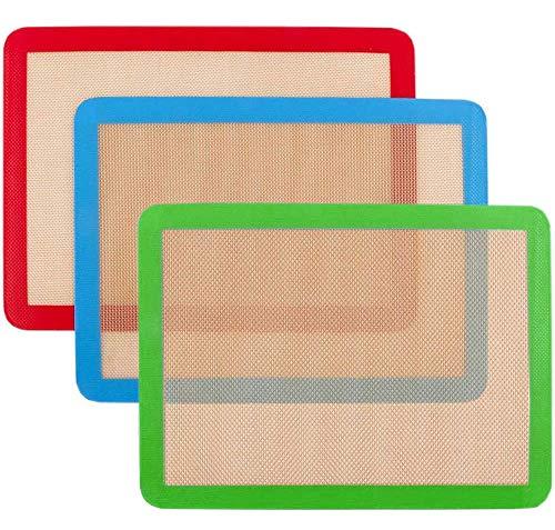 Silicone Baking Mat,NonStick Baking Mats (x3) Non-Slip Washable Reusable...