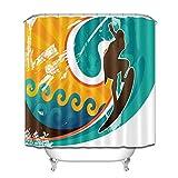 Lumengqi Cartel de Surf Retro de arteCortina de Ducha Impermeable Decorativa con impresión HD, Adecuada para baño, 12 Ganchos Gratis, 180X180cm