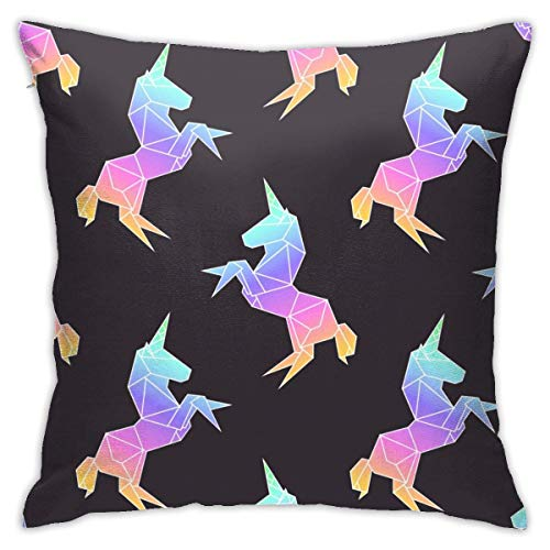 N/Q Rainbow Colored Unicorns Decorative Throw Pillow Cover Polyester Cushion Case for Home Sofa Bedroom Car Chair House Party Indoor Outdoor 18 X 18 Inch