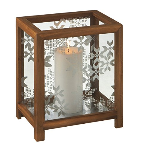 """Midwest 10"""" Alpine Chic Nordic Snowflake Wooden Christmas Pillar Candle Holder"""