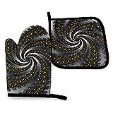 Espiral Fracta Estrellas Iconos Negro Horno Mitones Porta Ollas Set Cocina Resistente al Calor Impermeable con Capa Interior de Poliéster