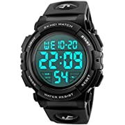 Men's Sports Watch Military Classic Stopwatch Large Dial Electronic LED Backlight Wristwatch 50M Waterproof Digital Watch with Large Number- Black