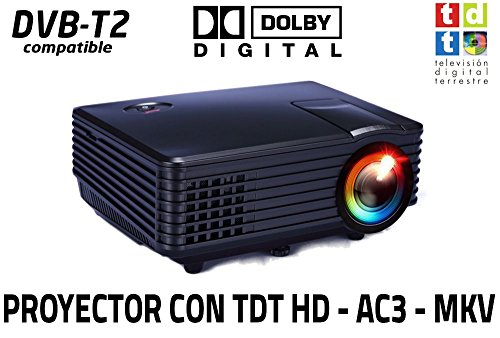 Proyector FULLHD Compatible Luximagen SV100 con TDT TV Integrado Decodificador Dolby AC3 Zoom Digital Reproductor USB Multimedia MKV AVI DIVX portatil led 50000h (Mini con TDT, Negro)