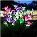 Solar Garden Lights 3 Pack - WdtPro Waterproof Outdoor Solar Flower Lights with 12 Lily Flower - 7 Color Changing Solar Landscape Decorative Lights for Garden Patio (Purple, White & Pink)