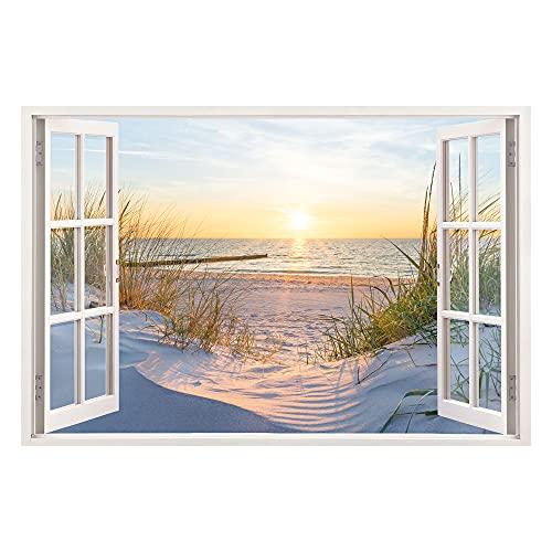 Leinwand mit Fensterblick - Druck auf Canvas Leinwand - moderner Kunstdruck - XXL Wandbild – Fenster mit Ausblick - Keilrahmen mit Druck (Dünen und Meer, 90 x 60 cm)