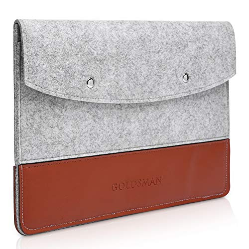 Goldsman MacBook Case 12 Inch Felt and Leather Elegant Laptop Bag Ultra Thin in Grey/Cognac Brown with Magnetic Buttons