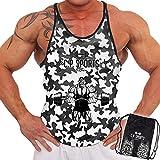 C.P. Sports 3 Stringer Tank Tops en bolsa de deporte – Camiseta muscular, para culturismo, levantamiento de pesas, entrenamiento de fuerza, fitness, gimnasio, 3 diseños por bolsa, Camo-blanco., L