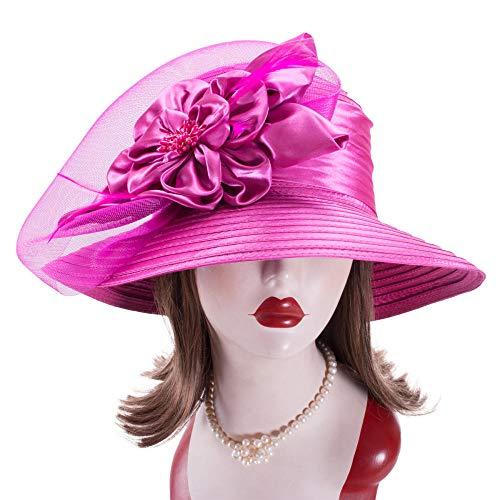 WDRSY Pamelas Sombreros para El Sol Cinta De Raso Vestido para Mujer Iglesia Boda Sol Bridal Oaks Sombreros para El Día