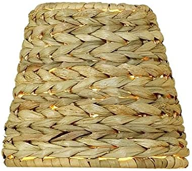 Upgradelights Sea Grass Chandelier Lamp Shade, 5 Inch Retro Drum Clips onto Bulb. 3x5x4.5