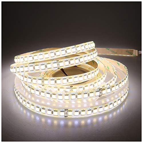 LEDENET Super Bright LED Strip Light Bi-Color Dual White Flexible SMD5050 Warm Cold 2800K-7000K 24V 600LEDs Silicone Coating Waterproof IP65 (16.4ft)