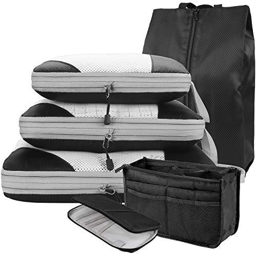 DIMJ 圧縮バッグ 6点セット トラべラブ圧縮バッグ ファスナー圧縮で衣類スペース50%節約 収納バッグ トラベルポーチ 出張 旅行 便利グッズ 軽量 衣類収納 靴袋 洗面用具ポーチ パスポートケース
