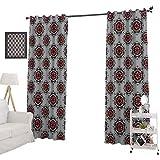 YUAZHOQI Cortinas opacas con estampado marroquí persa con imagen de flores, cortinas opacas para dormitorio de 132 x 160 cm, gris claro, blanco y burdeos