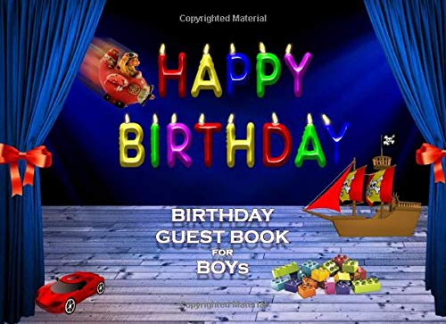 BIRTHDAY GUEST BOOK FOR BOYs CELEBRATION SIGN IN: 8.25x6 inch visitors book for parties with kids best friends and family children