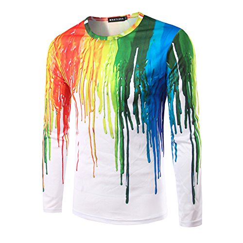 8b3e1832 Whatlees Unisex Work Out Long Sleeve Colorful Paint Splatter Print Shirts  Crew Neck Pullover Sweatshirt B057