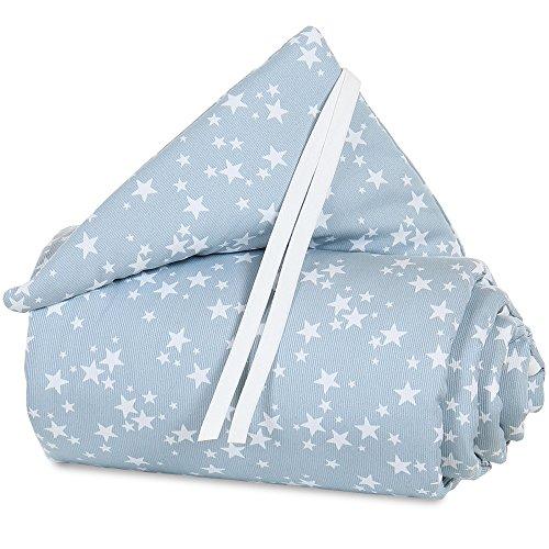 Tour de lit babybay en piqué convient pour le modèle Original, bleu ciel avec étoiles blanches