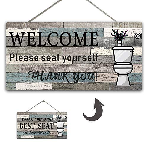 YINUOWEI Rustic Bathroom Wall Decor Sign Best SEAT Wood Plaque Both Sides Printed Farmhouse Hanging Decoration for Toilet, 12 inch (Blue/Gray)