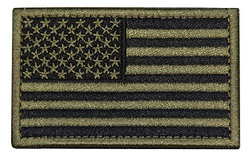 U-LIAN USA Flag Patch Embroidered American Flag Tactical Patch Velcro Patch Hook and Loop Fastener Backing Emblem (Black+Army Green)
