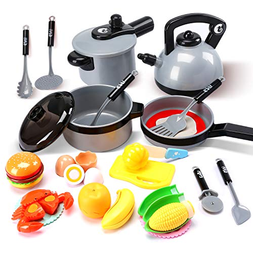 Cute Stone Kids Kitchen Pretend Play Toys,Play Cooking Set, Cookware Pots and Pans Playset, Peeling and Cutting Play Food Toys, Cooking Utensils...