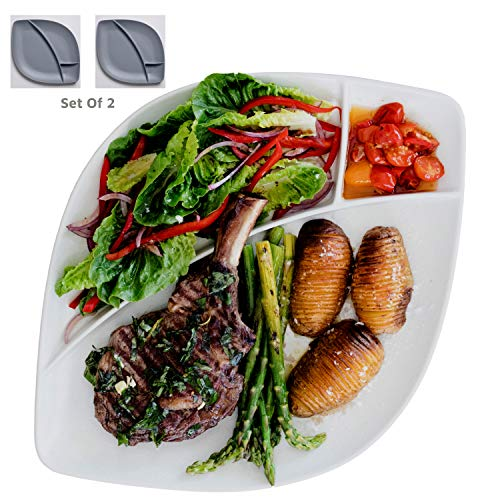 Porcelain Large Divided Dinner Plates Or Platters Set of 2 Dinnerware For Entertaining, Dining Or Parties, Stoneware Grey & White Colors