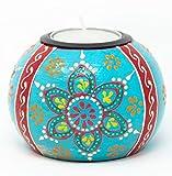 Desi Favors Handpainted Teal Henna Design Wooden Tealight Candle Holder for Diwali Wedding Favors or Mehndi Gifts