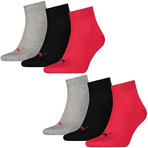 6 Paar Puma Quarter Socken, Kurz-Socken, Sportsocken,(mt) (39-42, black/red-232)