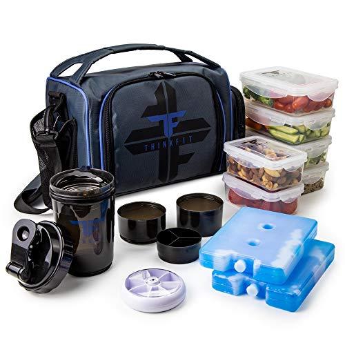 ThinkFit Isolierte Mahlzeit Prep Lunch Box mit 6 Lebensmittel Portion Control Containers - BPA-frei, wiederverwendbaren, Microwavable, Gefrierschrank Safe - Mit Shaker Cup, Pill Organizer (Blau)