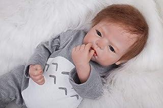 ZIYIUI 22inch 55 cm Muñeca Reborn Bebé Niño Pequeño Suave Silicona Vinilo Realista Reborn Baby Doll Niñas Magnetismo Juguetes Bebes Recien Nacidos Ojos Abiertos Recién Nacido Niño