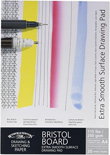 Winsor & Newton 6661542 extra glatter Zeichenblock, 20 Blatt Skizzenblock, kopfgeleimt, 250 g/m², DIN A4