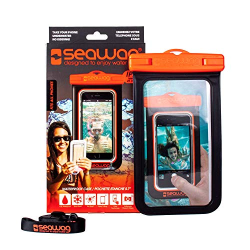 SEAWAG _ B5 X - FUNDA 100% IMPERMEABLE Y SUMERGIBLE PARA SMARTPHONE - UNIVERSAL (Negro/Naranja)