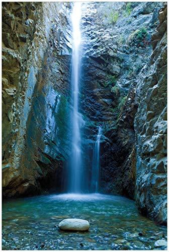 Wallario Glasbild Wasserfall bei Sonneneinfall - 60 x 90 cm in Premium-Qualität: Brillante Farben, freischwebende Optik
