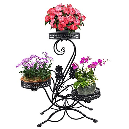 AISHN 3-Tiered Scroll Classic Plant Stand Decorative Metal Garden Patio Standing Plant Flower Pot Rack Display Shelf Holds 3-Flower Pot with ModernS Design (Black)