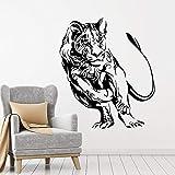 wZUN Abstrait Animal Tribal Sauvage Grand Chat prédateur Vinyle Autocollant décoration de la Maison Salon Art Mural 87X102 cm