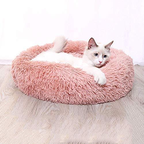 YLCJ Ronde kussen voor donut voor huisdieren, rond kussen voor verwarmd interieur Universeel kussen voor vier seizoenen knuffelig, kussen voor kat Cuccia voor warme puppies voor hond in pluche, roze, 80 cm, 70cm, roze