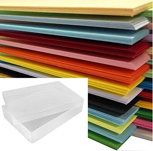 DIN A4-Papier, farbig, 500Blatt in einer durchsichtigen Kunststoff-Aufbewahrungsbox von Weston® –25x verschiedene Farben
