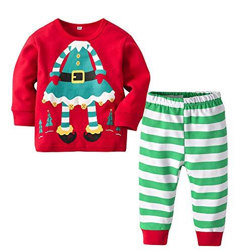 Disfraz Navidad Pijama Niño Niña Bebe Elfo Tops de Manga Larga + Pantalones