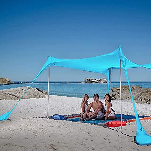 YQZ Carpa de Playa con Dosel emergente Anti-UV, Carpas de Dosel emergente con 4 Postes, Carpa de Playa Refugio para el Sol Toldo para 2-6 Personas Toldo para el Sol, Carpa de Campamento