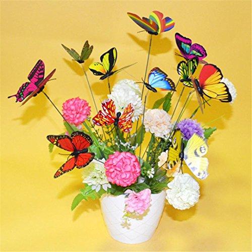 Hunpta 10pezzi colorati giardino farfalle su bastoncini in miniatura giardino decorazione