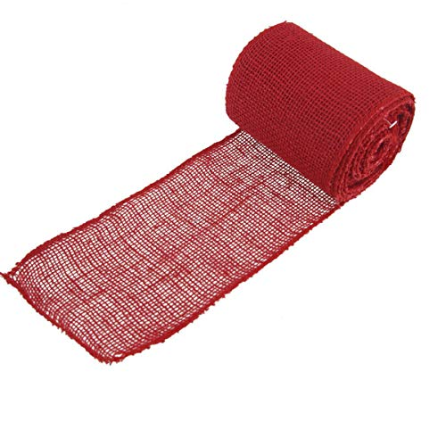 """BambooMN 5.5"""" Inch Wide Color Burlap Fabric Jute Craft Ribbon Roll, 1 Roll of 10 Yards, Cranberry"""