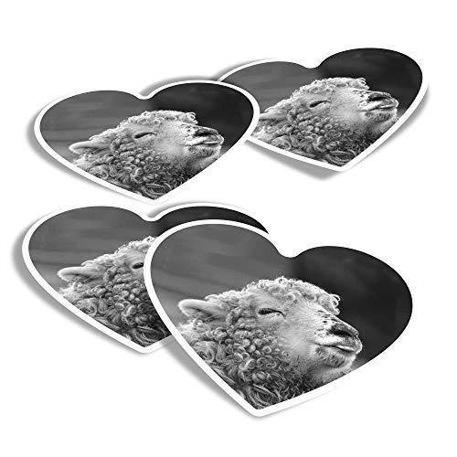 BW - Adesivi in vinile a forma di cuore, confezione da 4 pezzi, per computer portatili, tablet, bagagli, album di scarti e frigoriferi, #36961