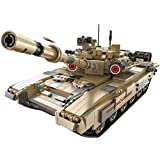 WZRY RC Tank, Remote controlled 2.4GHz T90 Heavy tank, 1:16 scale model,1722 Pcs Off Road tank Kit with USB Rechargeable Battery, for Kids and Adult Gift