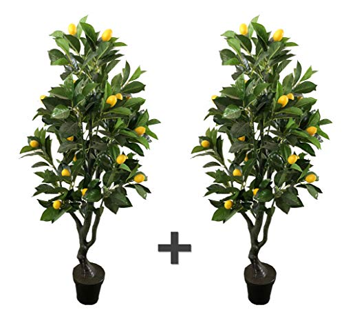AMERIQUE Pair 4 Feet Gorgeous & Lifelike Six-Branch Artificial Tree with Various Size Lemon Fruits, with Nursery Pot, Real Touch Tech, 4', Green, 2