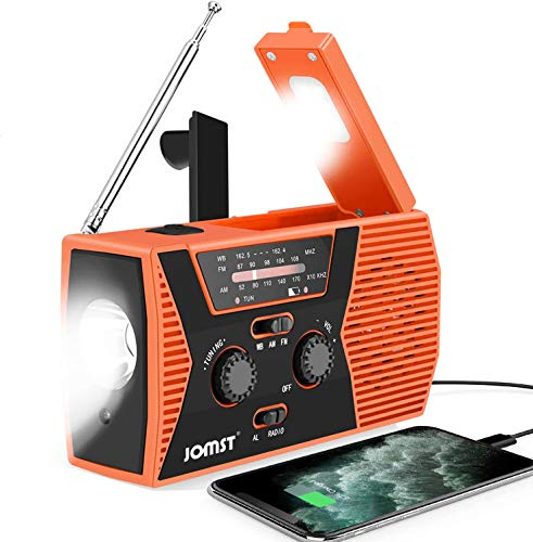 Jomst Emergency Radio,NOAA/AM/FM Weather Solar Radio,Hand Crank Portable Radio 7 in 1,SOS Alarm,Reading Lamp,LED Flashlight,2000mAh Power Bank USB Charger