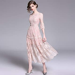 Robe de Mariée Robe Jupe Longue Automne Rétro Genou Dentelle Super Robe de Fée Mode/Rose/Xxl, L-F, Rose, s