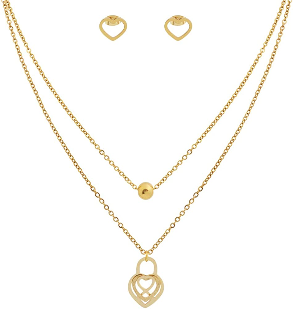 Edforce Stainless Steel Women Girls Heart Pendant Necklace and Earring Set