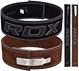 "RDX Powerlifting Belt for Weight Lifting Gym Training - Lever Buckle Leather Belt 10mm Thick 4"" Lumbar Back Support - Great for Strongman Functional Strength, Bodybuilding, Deadlifts Workout & Squats"