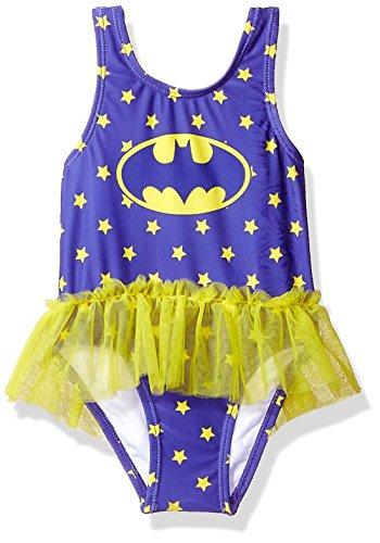 Warner Bros. Girls' Toddler Batgirl Swimsuit, Eggplant, 3T